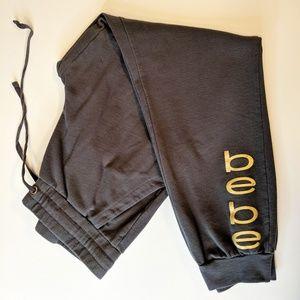 Bebe Charcoal Gray Jogger Sweatpants Gold Logo M